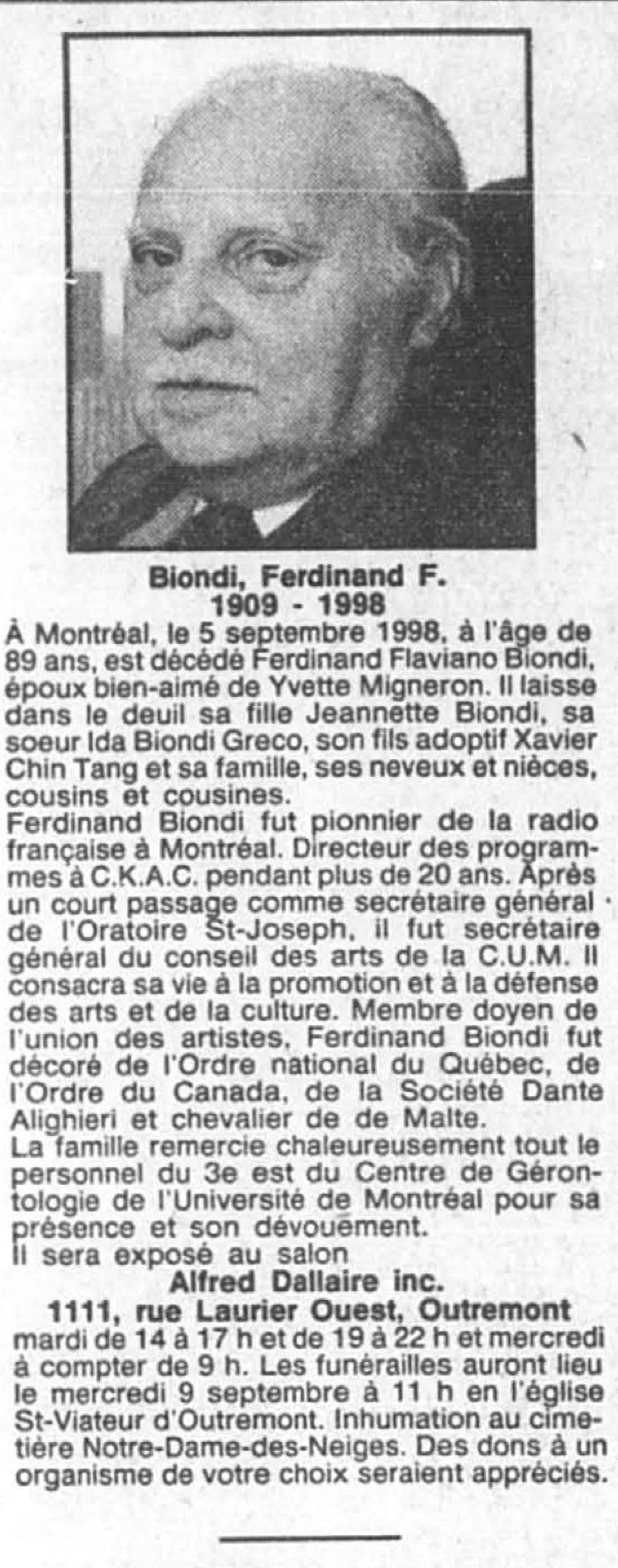 La Presse, 8 septembre 1998.